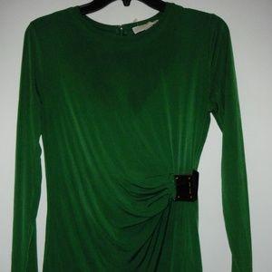 MICHAEL KORS Green Scoop Long Sleeve Top M